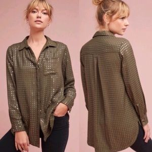 Anthropologie Maeve Sequined Button Down Shirt